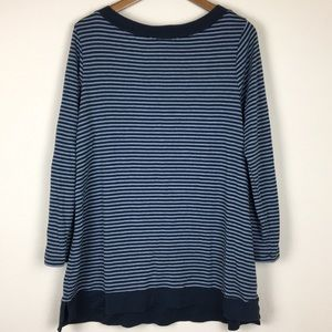 J. Jill Striped Perfect Pima Cotton Tunic Top Lrg